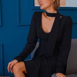 Купить женское черное недорогое платье миди в горох онлайн