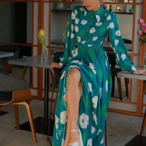 Заказать женское платье длины макси с цветочным принтом изумрудно-зеленого цвета онлайн в Украине