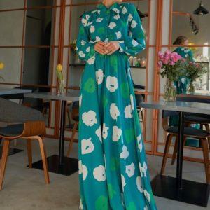 Купить дешево женское платье длины макси с цветочным принтом изумрудно-зеленого цвета в интернет-магазине