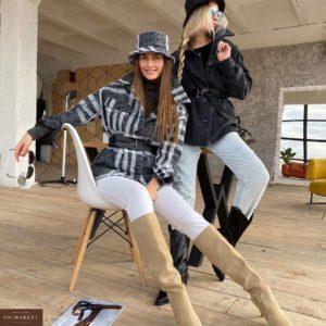 Заказать в Украине женское пальто-рубашка на подкладке, ремень в комплекте онлайн