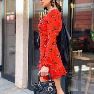 Приобрести женское красное платье на запах с цветочным принтом по доступно цене в Украине