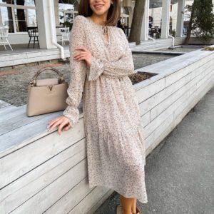 Купить женское нежное платье - двойка бежевое на подарок