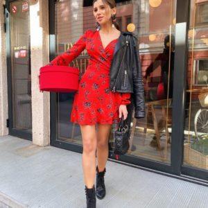Купить дешево женское красное платье на запах с цветочным принтом