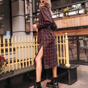 Купить онлайн женское платье - рубашка в клетку коричневое дешево