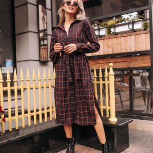 Заказать недорого женское платье - рубашка в клетку коричневое в интернет-магазине