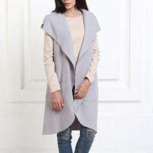 Купить женский кашемировый кардиган с капюшоном серый по доступной цене