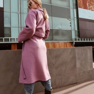 Купить дешево женское пальто из кашемира на запах и шерсти под пояс розового цвета в подарок
