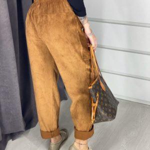 Приобрести дешево вельветовые женские брюки с карманами цвета коричневого недорого