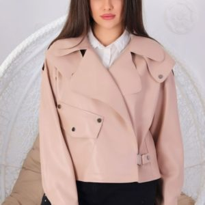 Купить дешево куртку женскую из эко-кожи на замше бежевого цвета в подарок