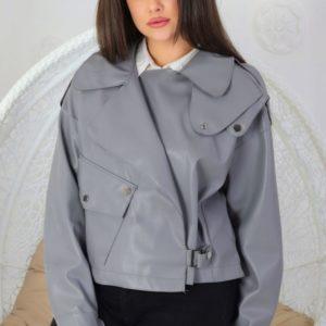 Заказать в подарок женскую куртку на замше из экокожи серого цвета дешево