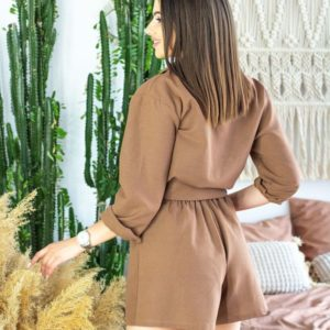 Приобрести недорого женский костюм тройка с шортами из льна коричневого цвета оптом Украина