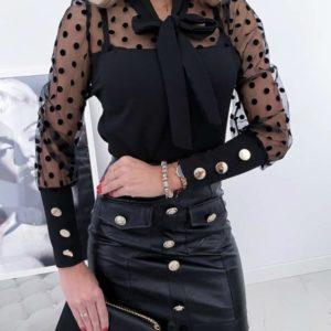 Купить женскую приталенную блузку с рукавами - сеткой в горошек в Одессе, Киеве, Львове, Харькове, Днепре