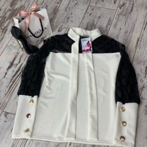 Заказать в Украине приталенную блузку с рукавами - сеткой в горошек