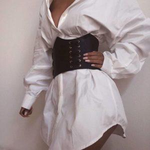 Придбати недорого жіноче біле плаття-сорочка на бавовняній основі з шкіряним корсетом оптом Україна