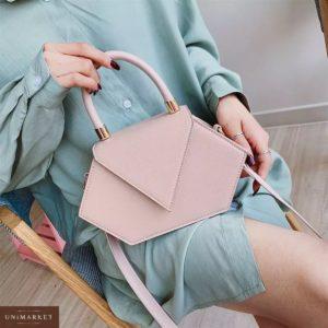 Купить дешево женская сумка из эко кожи асимметричная нежно-розового цвета в подарок