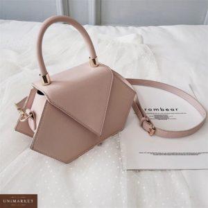 Приобрести недорого женская асимметричная сумка из эко кожи бежевого цвета оптом Украина