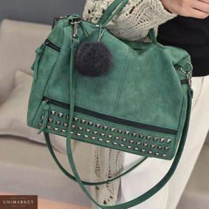 Приобрести недорого женскую зеленую замшевую сумку оптом Украина