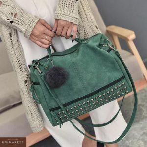 Заказать в подарок женскую сумку зеленую замшевую дешево