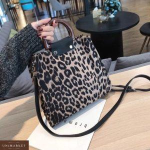 Приобрести недорого женскую сумку с серым леопардовым принтом и деревянными ручками оптом Украина