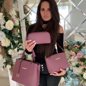 Заказать в подарок женскую сумку клатч и косметичку 3в1 цвета розового дешево