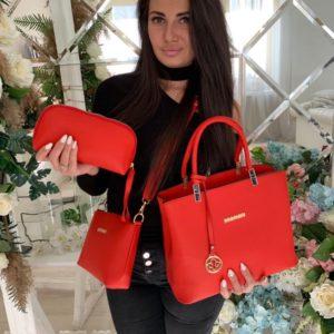 Приобрести в интернет-магазине женскую 3в1 сумку клатч и косметичка красного цвета дешево