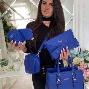 Заказать недорого женскую сумку кошелек и визитница 6в1 клатч синего цвета оптом Украина