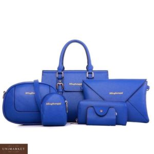 Приобрести дешево сумку женскую 6 в 1 клатч, визитница и кошелек цвета синего недорого