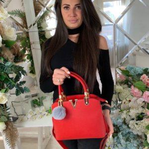 Купить дешево женскую сумку на змейке из эко-кожи красного цвета в подарок