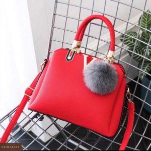 Заказать в подарок сумку женскую из эко-кожи на змейке цвета красного недорого