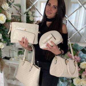Заказать в подарок женский набор сумок 6в1 кошелек, косметичка и клатч цвета молока недорого