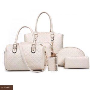 Купить дешево женский набор сумок кошелек 6в1, клатч и косметичка молочного цвета в подарок
