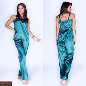 Купить в интернет-магазине женскую атласную пижаму с кружевной вставкой онлайн в Украине