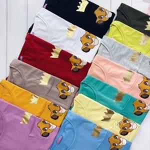 Заказать в подарок женскую oversize футболку с принтом Lion King дешево