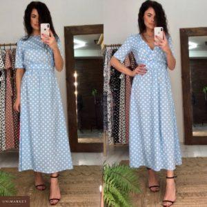Приобрести недорого женское длинное платье в горошек с поясом двустороннее голубого цвета оптом Украина