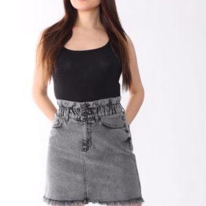 Заказать женскую серую джинсовую юбку с необработанным краем недорого Украина