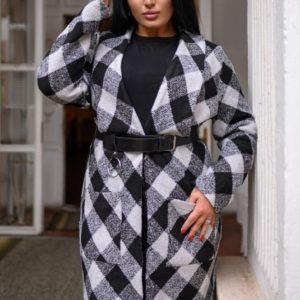 Купить в интернет-магазине женский черно-белый теплый весенний кардиган с поясом в Украине