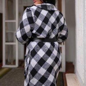 Заказать женский черно-белый теплый весенний кардиган с поясом батал онлайн