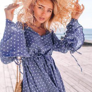 Купить дешево женский летний с шортами комбинезон в горох из штапеля голубого цвета в подарок