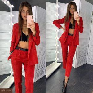 Заказать в подарок женский костюм: пиджак + брюки на подкладке красного цвета дешево