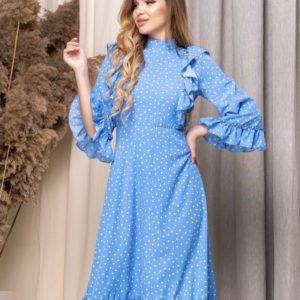 Заказать женское платье миди под горло с расклешенными рукавами голубое недорого