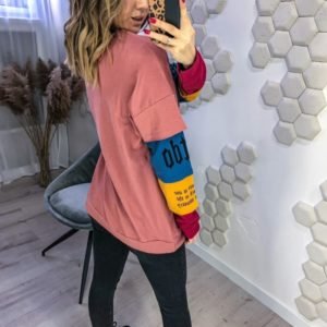 Приобрести онлайн розовый женский свитшот с разноцветными рукавами (размер 42-48) по низким ценам