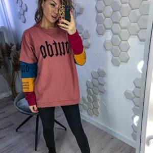 Заказать розовый женский свитшот с разноцветными рукавами (размер 42-48) в Украине
