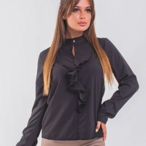 Купить черную женскую блузку с жабо с регулирующимися рукавами (размер 42-56) в Украине