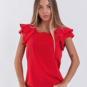 Приобрести красную женскую легкую блузку с коротким оригинальным рукавом (размер 42-56) по низким ценам
