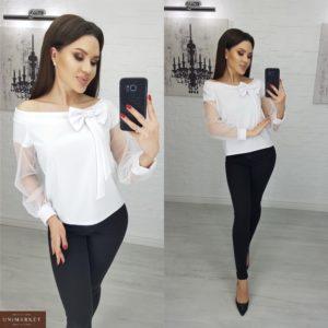 Заказать женскую белую блузку с бантиком и вставками из сетки недорого