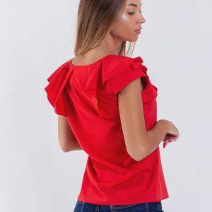 Заказать красную женскую легкую блузку с коротким оригинальным рукавом (размер 42-56) в Украине