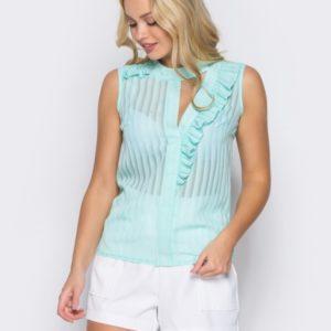 Придбати м'ятну жіночу легку блузку з шифону з рюшами (розмір 42-50) недорого