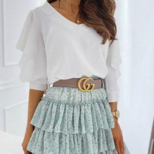 Купить белую женскую нежную блузку-бабочку с пуговицами на спине недорого