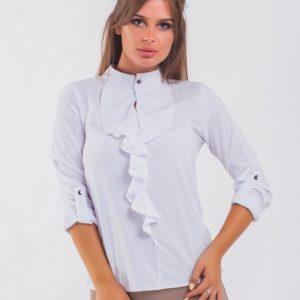 Купить белую женскую блузку с жабо с регулирующимися рукавами (размер 42-56) онлайн