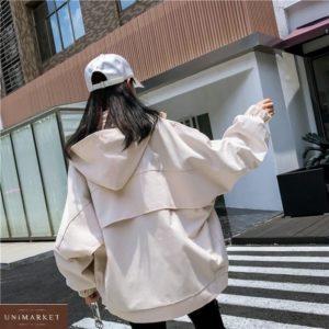 Заказать бежевую женскую стильную ветровку с объемными рукавами в Украине